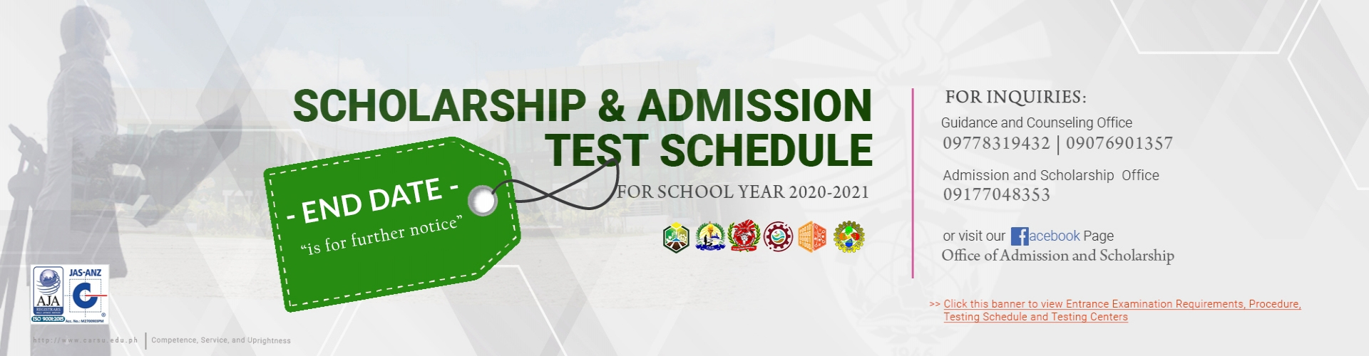 Click this banner to view CSU Entrance Examination Requirements, Procedure, Testing Schedule and Testing Centers
