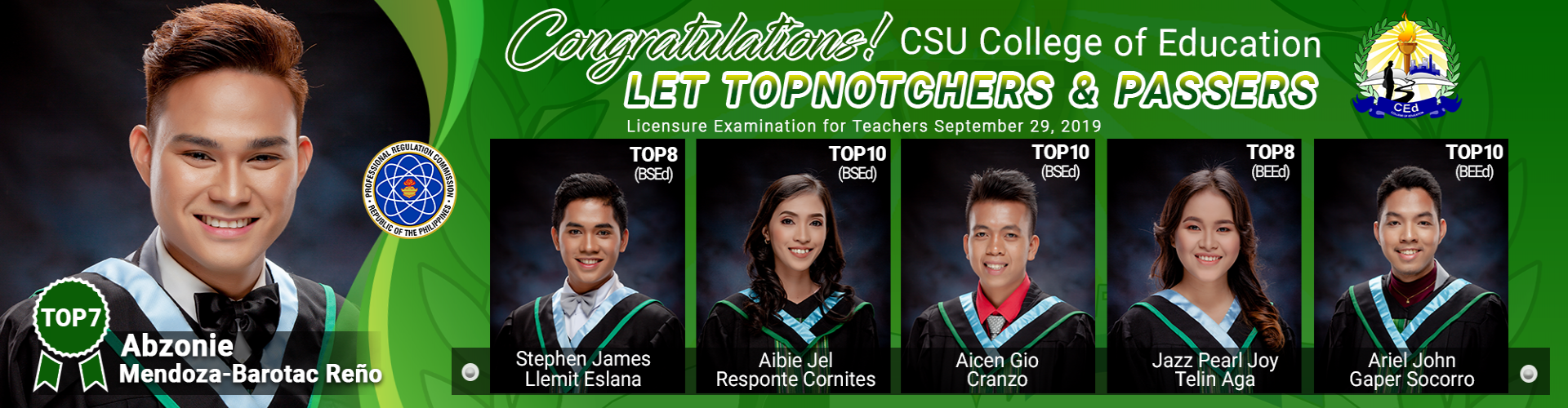 CSU CEd LET Passers and Topnotchers 2019