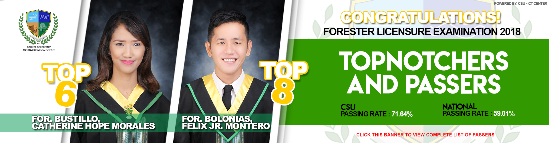 Forester Licensure Examination 2018 Passers