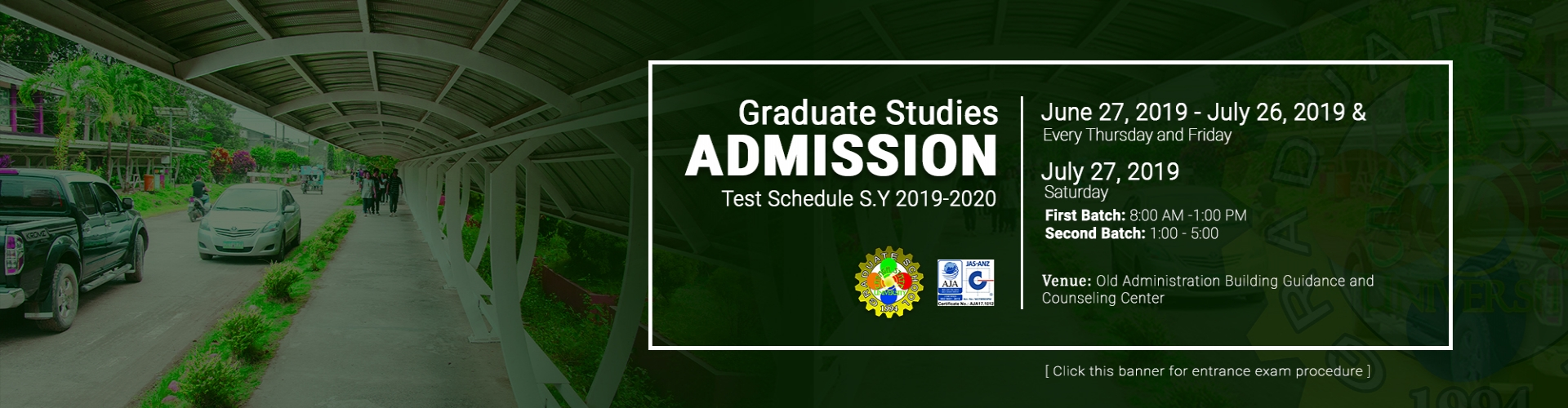 Graduate School Admission Test Schedule