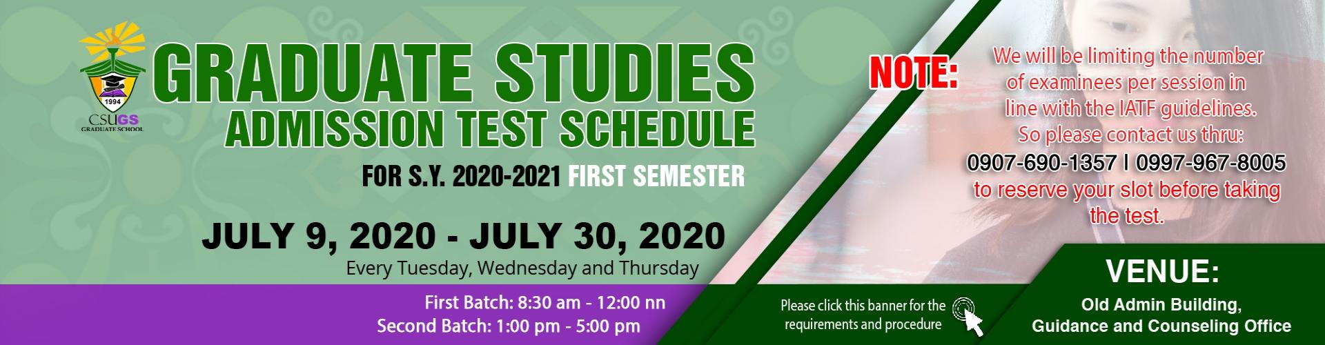 CSU Graduate Studies Admission Test Schedule S.Y 2020-2021