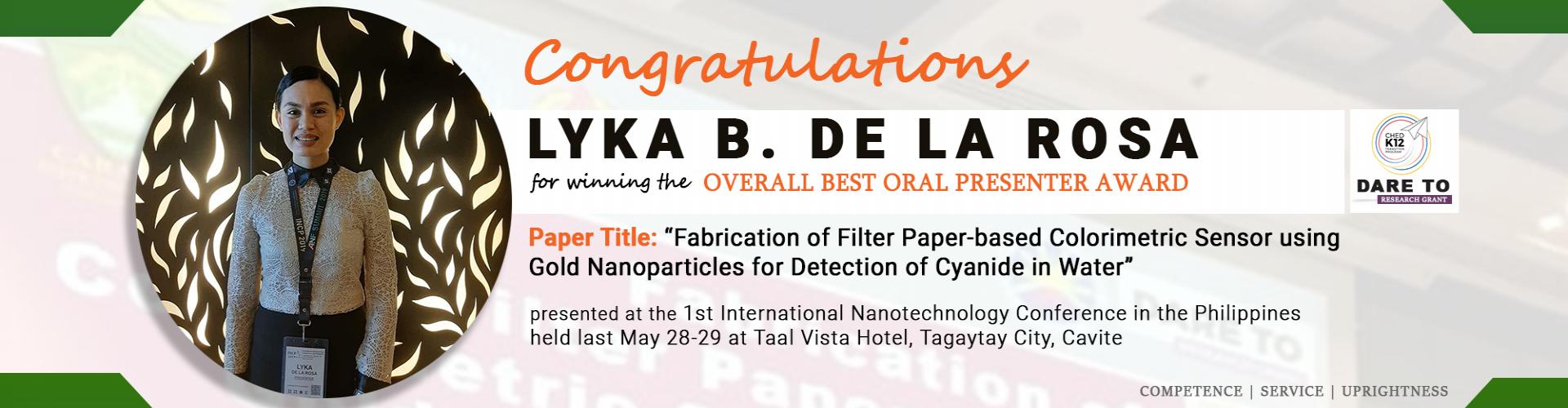 Lyka B. Dela Rosa - Overall best oral presenter awardee