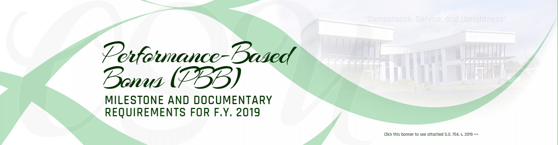 Milestrone and Documentary Requirements for FY 2019 PBB