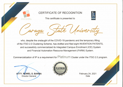 CSU's ITSO RECEIVES PLATINUM AWARD FROM IPOPHL