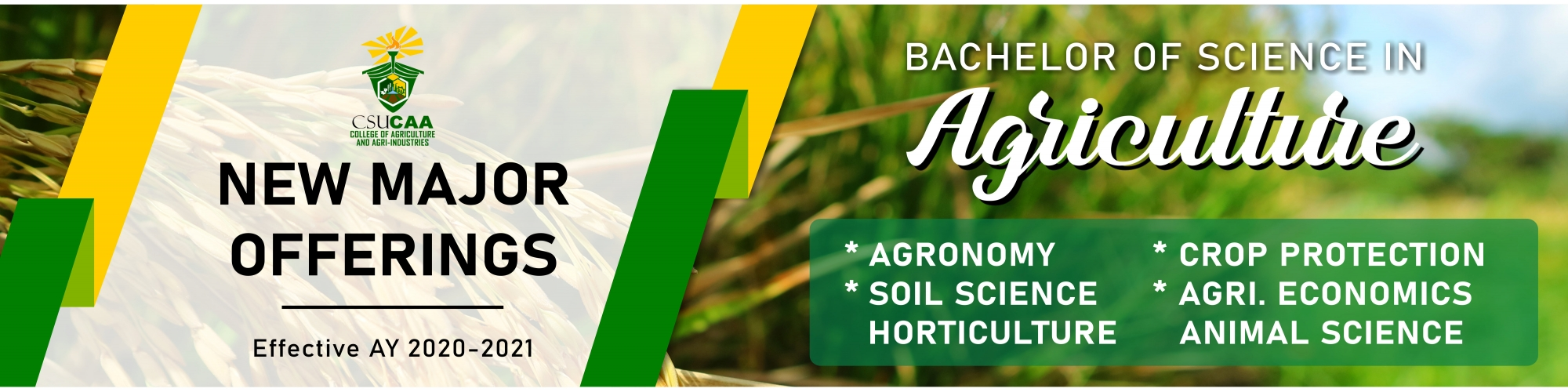 BSA College of Agriculture and Agri-Industries New Major Offerings