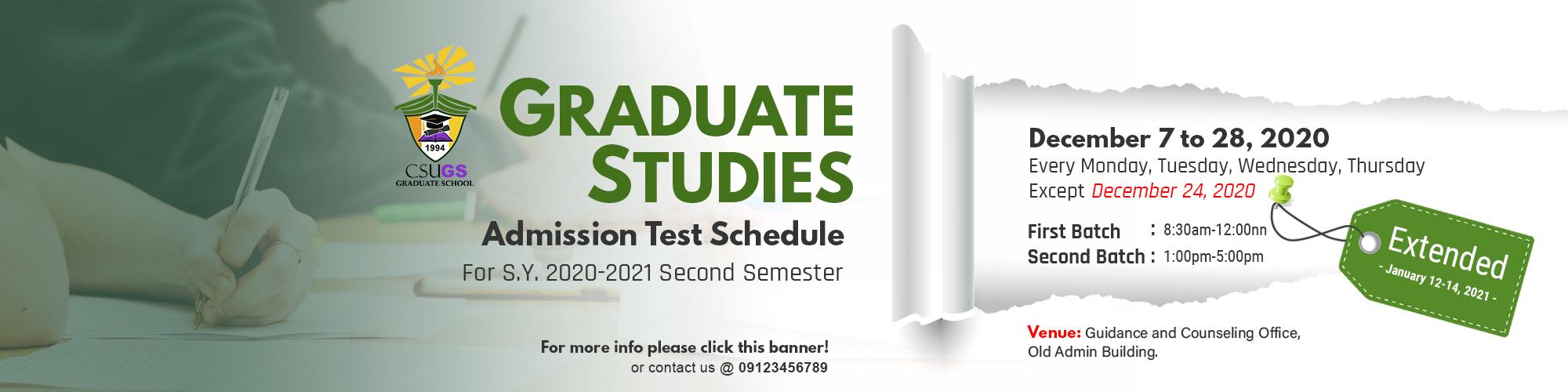 CSU Graduate Studies Admission Test Schedule
