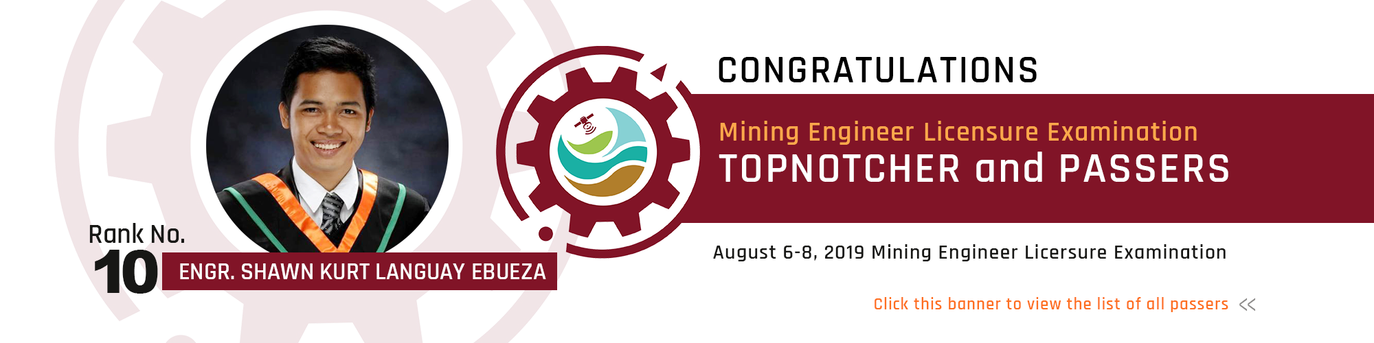 Mining Engineering Topnotcher and Passers 2019