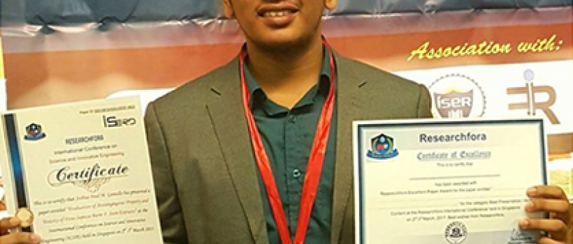 CSU Student Researcher's Study chosen as Best Paper at ISERD Forum in Singapore