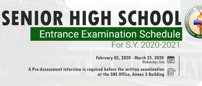CSU Senior High School entrance exam schedule for 2020-2021