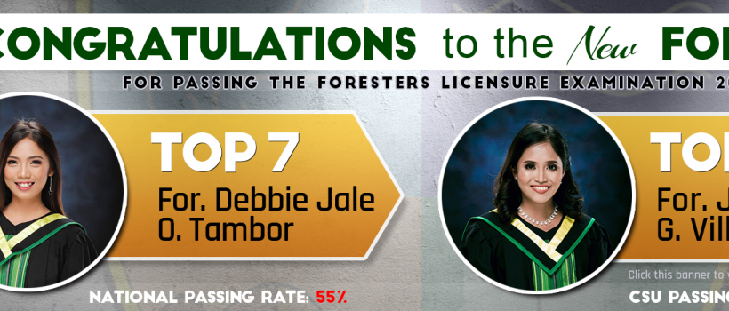 CSU Foresters Licensure Examination Topnotchers and Passers 2019