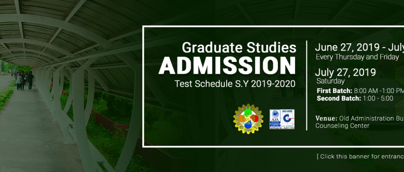 Graduate School Admission Test Schedule