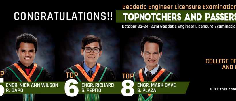 Geodetic Engineering Licensure Examination Topnotchers and Passers 2019