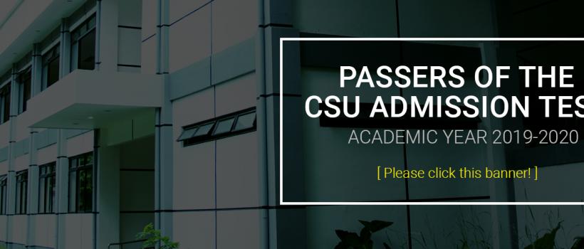 CSU Admission Test Passers Academic Year 2019-2020