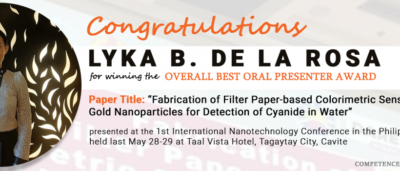 Lyka B. Dela Rosa - Overall best oral presenter awardee